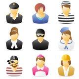5 ikony zajęć ludzi ustawiających Fotografia Stock