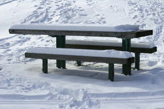 5 inch snow. Benches and desk in a park after snow Royalty Free Stock Photo