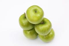 5 jabłek odosobniony biel Obraz Stock