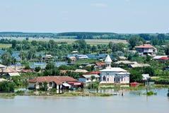 5 katastrofalnych powodzi uderzają Lipiec Romania Obrazy Stock