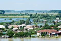 5 katastrofalnych powodzi uderzają Lipiec Romania Obraz Stock