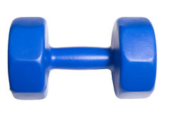 5 kg Barbell. Blue 5 Kilo Barbell isolated on white background Royalty Free Stock Image