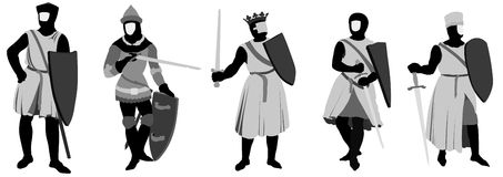 5 Knights. In various poses Stock Photography