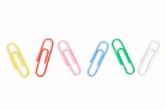 5 kolorowych papierowych klamerek Obraz Royalty Free
