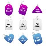5 kulöra försäljningsetiketter Royaltyfria Foton