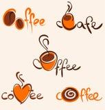 5 marchi ed icone del caffè Fotografia Stock Libera da Diritti