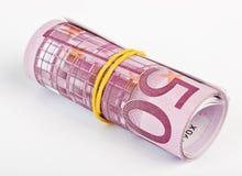 5 mila euro rotolati in su Fotografie Stock