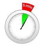 5 minuta zegar Obraz Stock