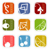 5 mod ikon retro wektora Obraz Royalty Free