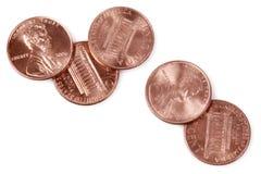 5 moedas de um centavo Fotografia de Stock Royalty Free