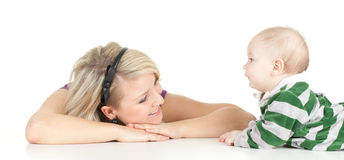 5 month baby boy with mother Royalty Free Stock Images