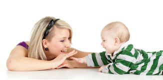 5 month baby boy with mother Royalty Free Stock Photo