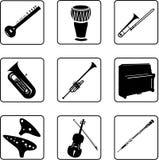 5 musikaliska instrument Arkivfoton