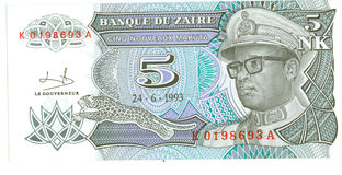5 nk bill of Zaire, 1993 Stock Photography
