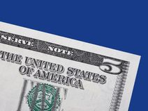 5 nota - dólar Fotos de Stock
