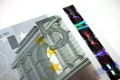 5 notas/contas do euro fotos de stock