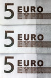 5 notas de banco dos euro Fotografia de Stock