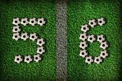5 nummer för 6 fotboll Arkivfoton