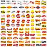 5 nya etiketter för språk Arkivfoton