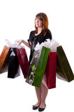 5 påsar som shoppar kvinnabarn Arkivfoto
