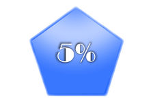 5 per cent. Blue button 5 per cent in white background Royalty Free Stock Images