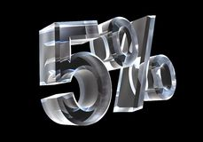 5 percent in glass (3D) Royalty Free Stock Photos