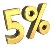 5 percent in gold (3D). 5 percent in gold (3D made Stock Image