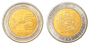 5 Peruvian nuevo sol coin. Isolated on white background stock photography