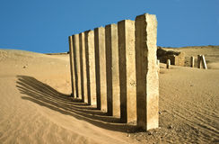 5 pillars of moon temple in desert Stock Photography
