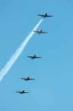 5 Planes. 5 military planes in stacked formation royalty free stock images