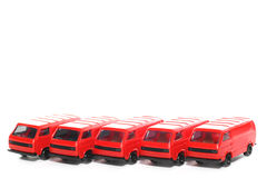 5 Plastic VW Van toy car Stock Image