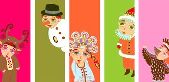 5 pop-art christmas design element Royalty Free Stock Images