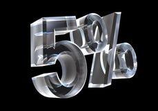 5 por cento no vidro (3D) Fotos de Stock Royalty Free