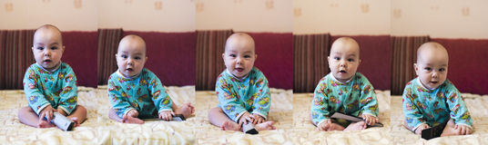 5 poses of baby stock photo