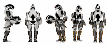 5 poses of futuristic guards Royalty Free Stock Photography
