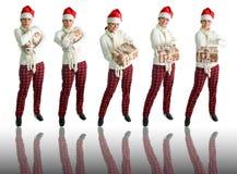 5 poses Santa de chapeau de fille Images libres de droits