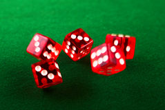 5 Red dices in move Stock Images