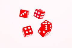 5 Red dices in move Stock Photo