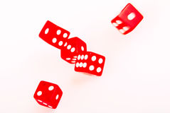 5 Red dices in move Royalty Free Stock Photos