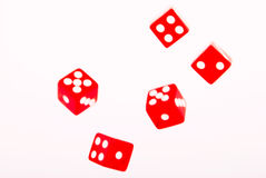 5 Red dices in move Royalty Free Stock Images