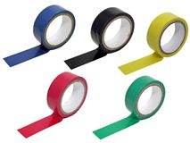 5 rolls of insulation tape Royalty Free Stock Photos