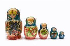 5 russian Matryoshka dolls. 5 Matryoshka russian dolls on a white background Stock Photography
