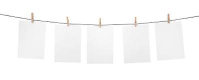 5 saubere Blätter auf Wäscheleine Stockbild