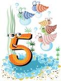 5 skal för serie för djurnummerhav Arkivbild