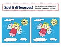 5 skillnader spelar ungefläcken Royaltyfri Foto