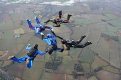 5 skydivers Стоковое Изображение RF