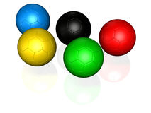 5 soccer ball. Soccer ball colored with the same color as olympic games logo Stock Photos