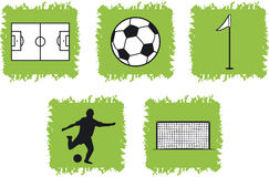 5 soccer icons and symbols. A collection of 5 soccer icons and symbols Royalty Free Stock Photography