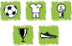5 soccer icons and symbols. A collection of 5 soccer icons and symbols Stock Image
