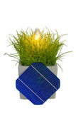 5 Solar-Cell in flower pot with lamp royalty free stock image